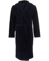 BOSS Logo Terry Gown, Navy Blue Robe