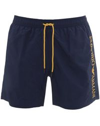 Emporio Armani Side Logo Swimshorts, Blue And Yellow Swimming Trunks