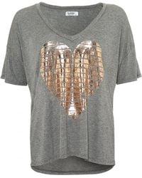 Lauren Moshi - Brixton Heather Grey T-shirt, Foil Gold Heart Tee - Lyst