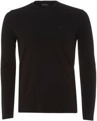 Emporio Armani Basic Long Sleeve T-shirt, Black Regular Fit Tee