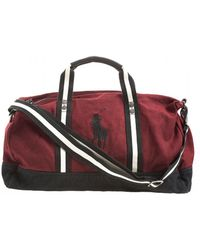 Ralph Lauren - Polo Player Striped Wine Red Gym Bag - Lyst