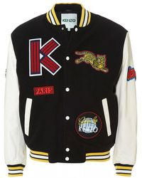 KENZO - Logo Dragon Embroidered Wool Blend Varsity Jacket - Lyst