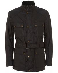 Belstaff Roadmaster Waxed Jacket, Deep Muave Cotton Jacket - Black