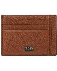BOSS by Hugo Boss Crosstown Tan Brown Leather Card Holder
