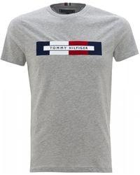 Tommy Hilfiger Box Logo T-shirt, Heather Grey Organic Cotton Tee - Gray