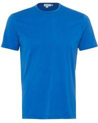 Sunspel - Plain T-shirt, 100% Cotton Klein Blue Tee - Lyst