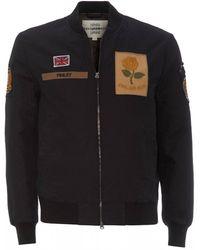 Kent & Curwen Patch Rose Jacket, Black Bomber Coat