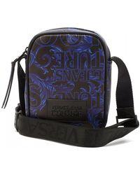 Versace Jeans All-over Black/blue Baroque Crossbody Stash Bag