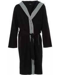 BOSS Identity Gown Black Hooded Dressing Gown
