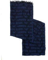 Armani - Navy Blue All Over Logo Lightweight Scarf - Lyst