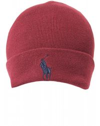 Ralph Lauren - Large Logo Classic Wine Red Beanie Hat - Lyst