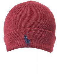 Ralph Lauren Large Logo Classic Wine Red Beanie Hat