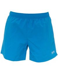 BOSS Perch Swimshorts, Quick-drying Logo Blue Swimming Trunks