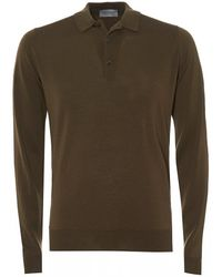 John Smedley Belper Woolen Polo Shirt, Khaki Green Polo
