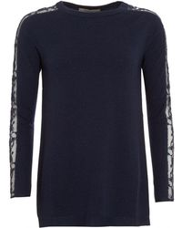 D. EXTERIOR - Jumper, Scoop Neck Lace Sleeves Navy Blue Sweater - Lyst