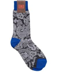 Etro | Paisley Print Contrast Cuff Black Socks | Lyst