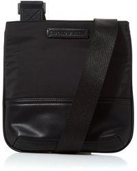 Emporio Armani Logo Tab Black Leather Cross Body Stash Bag