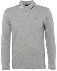 Emporio Armani Stretch Pique Logo Polo Shirt - Grey