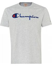 Champion Script Logo T-shirt, Regular Fit Tee - Gray