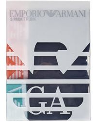 Emporio Armani - Three Pack Boxers, Plain Black Coloured Waistband Trunks - Lyst