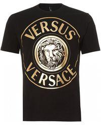 Versus - Lion Print T-shirt, Gold Black Slim Fit Tee - Lyst
