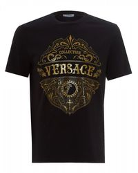 Versace Western Logo Graphic T-shirt, Black Tee