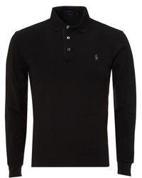 Ralph Lauren - Tipped Polo Shirt, Long Sleeved Black Polo - Lyst