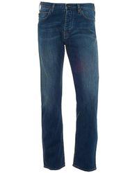 Armani Jeans - J21 Jeans, Cross Hatch Whiskered Mid Light Denim - Lyst