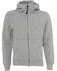 C P Company Zip Up Hoodie, Goggle Hood Grey Sweatshirt