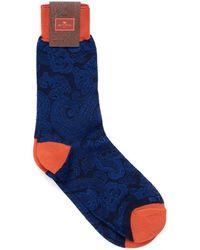 Etro Paisley Print Contrast Cuff Navy Black Socks - Blue