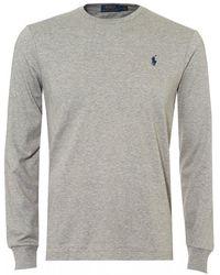 Ralph Lauren Pima Long Sleeve T-shirt, Grey Tee - Gray
