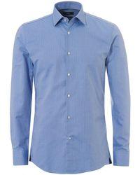 BOSS - Jerris Woven Diamond Slim Fit Sky Blue Shirt - Lyst