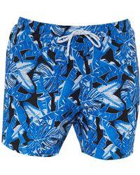 BOSS Barracuda Swimming Shorts, Leaf Pattern Swimming Trunks - Blue