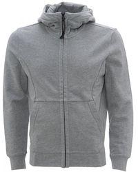 C P Company Diagonal Raised Fleece Goggle Zip-up Hoodie, Grey Sweatshirt - Gray