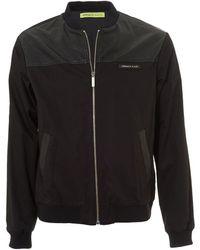 Versace Jeans Back Logo Bomber, Black Faux Leather Jacket