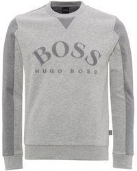 BOSS Salbo Logo Sweatshirt, Light Grey Sweat - Gray