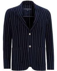 Circolo 1901 Blue Striped Blazer, Stretch Cotton Jacket