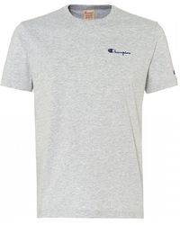 Champion - Grey Reverse Weave Logo Embroidered Cotton Blend T Shirt - Lyst