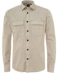 BOSS Rebus_1 Overshirt, Twin Pocket Oatmeal Beige Shirt - Natural