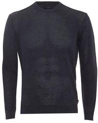 Armani - Jumper Crew Neck Cotton Blend Blue Sweater - Lyst