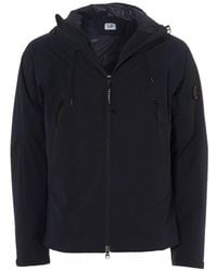 C P Company Lens Hooded Jacket, Total Eclipse Navy Blue Goggle Jacket