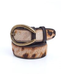 Elliot Rhodes - Ponyskin Textured Brown Beige Burn Out Belt - Lyst