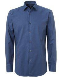 BOSS - Jenno Small Texture Slim Fit Mid Blue Shirt - Lyst