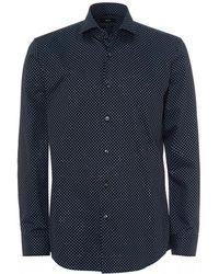 BOSS - Jason Diamond Pattern Navy Blue Shirt - Lyst