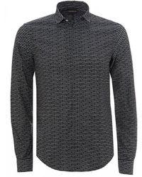 Emporio Armani Black All-over Logo Shirt