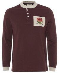 Kent & Curwen - Raw Collar Rugby Shirt, Ruby Red Jersey T-shirt - Lyst