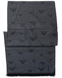 Emporio Armani Grey All-over Eagle Scarf - Black