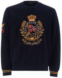 Polo Ralph Lauren Double-knit Sweatshirt, Crest Graphic Sweat - Blue