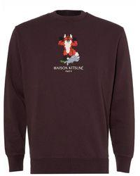 Maison Kitsuné - Pixel Fox Sweatshirt, Burgundy Regular Fit Sweat - Lyst