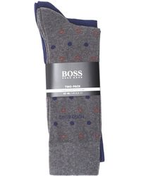 BOSS Black - 2p Rs Dot Cc Twin Pack Cotton Stretch Grey Socks - Lyst